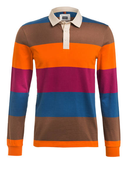 Marc O'Polo Jersey-Poloshirt Regular Fit, Farbe: BRAUN/ ORANGE/ BLAU (Bild 1)