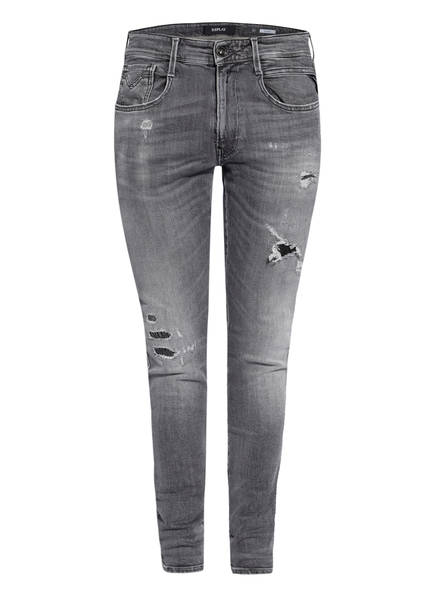 REPLAY Destroyed Jeans BRONNY Extra Slim Fit, Farbe: 096 MEDIUM GREY (Bild 1)
