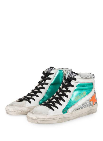 GOLDEN GOOSE DELUXE BRAND Hightop-Sneaker SLIDE DOUBLE QUARTER, Farbe: HELLGRAU/ WEISS/ GRÜN (Bild 1)