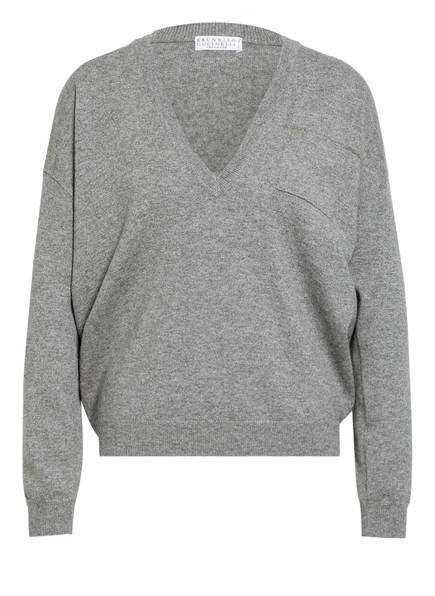 BRUNELLO CUCINELLI Cashmere-Pullover mit Perlenbesatz, Farbe: GRAU MELIERT (Bild 1)