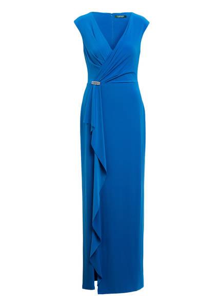 LAUREN RALPH LAUREN Abendkleid mit Volantbesatz, Farbe: BLAU (Bild 1)