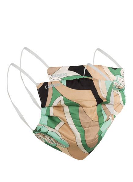 CAMBIO 2er-Set Mund- und Nasenmasken, Farbe: GRÜN/ BEIGE (Bild 1)