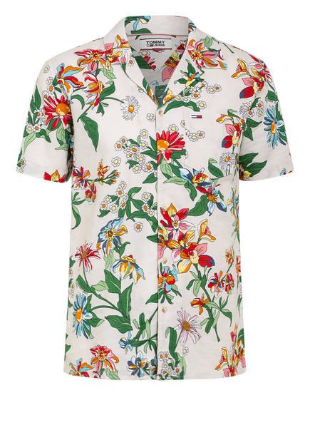 TOMMY JEANS Resorthemd mit Leinen Regular Fit, Farbe: BEIGE/ DUNKELGRÜN/ WEISS (Bild 1)