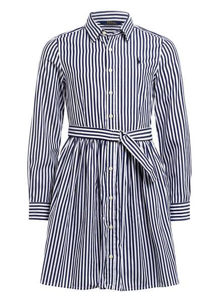 POLO RALPH LAUREN Hemdblusenkleid, Farbe: WEISS/ DUNKELBLAU (Bild 1)