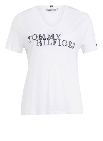 TOMMY HILFIGER T-Shirt CHRISTA mit Leinen , Farbe: WEISS (Bild 1)