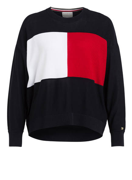 TOMMY HILFIGER Pullover ICON FLAG, Farbe: DUNKELBLAU/ ROT/ WEISS (Bild 1)