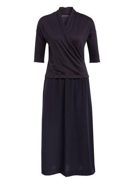 MARCCAIN Kleid mit 3/4-Arm in Wickeloptik, Farbe: 395 MIDNIGHT BLUE (Bild 1)