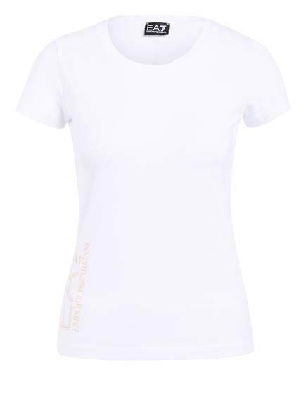 EA7 EMPORIO ARMANI T-Shirt mit Schmucksteinbesatz     , Farbe: WEISS (Bild 1)