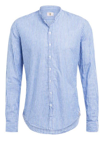 Q1 Manufaktur Hemd RENE Slim Fit mit Stehkragen und Leinen, Farbe: BLAU/ WEISS GESTREIFT (Bild 1)
