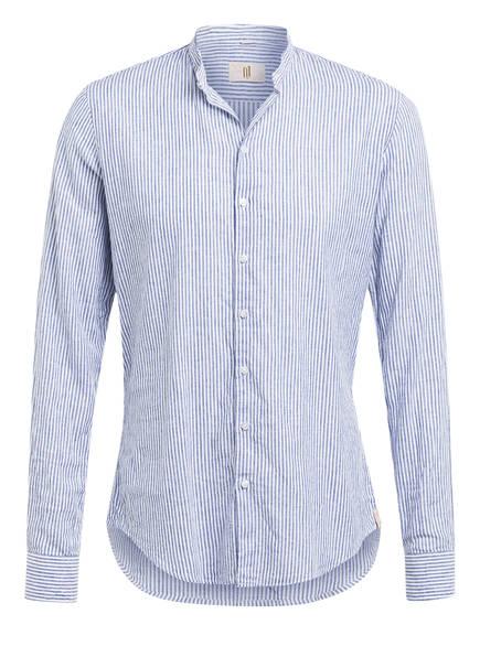 Q1 Manufaktur Hemd RENE Extra Slim Fit mit Stehkragen , Farbe: BLAU/ WEISS GESTREIFT (Bild 1)
