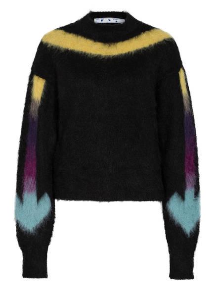 Off-White Pullover mit Alpaka und Mohair, Farbe: SCHWARZ/ GELB/ MINT (Bild 1)