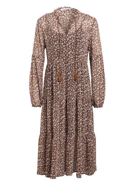 Freebird Kleid DANIE mit Volantbesatz, Farbe: DUNKELBRAUN/ WEISS/ DUNKELROT (Bild 1)
