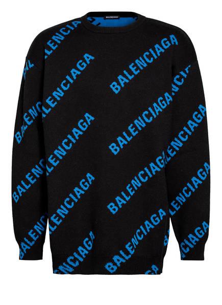 BALENCIAGA Oversized-Pullover, Farbe: SCHWARZ/ BLAU (Bild 1)