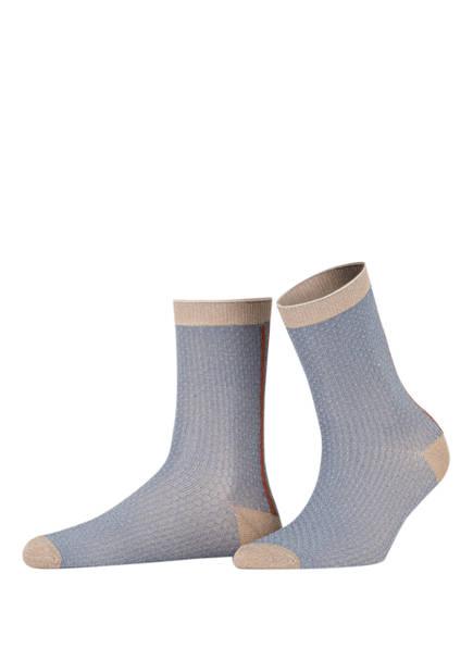 BECKSÖNDERGAARD Socken SHIMMER PASHA mit Glitzergarn , Farbe: GRAU/ GOLD/ BRAUN (Bild 1)