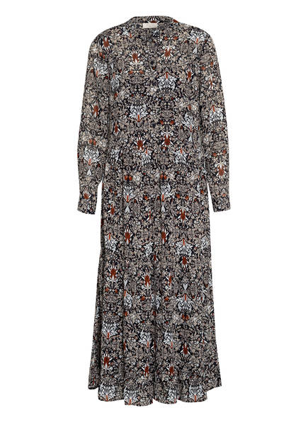 FREEQUENT Kleid mit Volantbesatz, Farbe: DUNKELBLAU/ HELLCAMEL/ COGNAC (Bild 1)