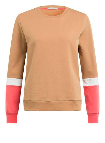 mey Lounge-Sweatshirt Serie NIGHT2DAY, Farbe: HELLBRAUN/ HELLROT/ WEISS (Bild 1)