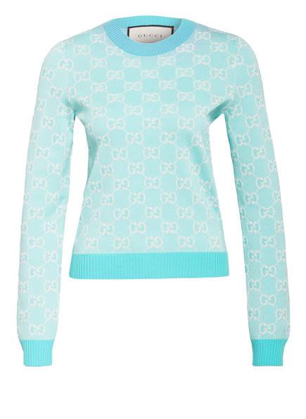 GUCCI Pullover, Farbe: HELLBLAU/ CREME (Bild 1)