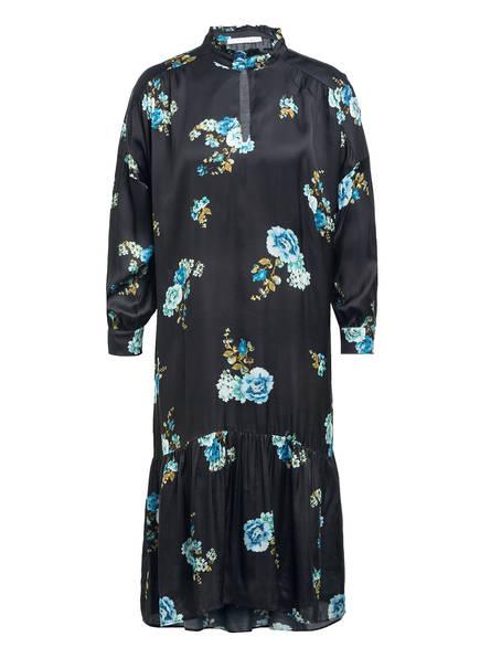 oui Kleid mit Rüschenbesatz, Farbe: SCHWARZ/ MINT/ HELLBLAU (Bild 1)
