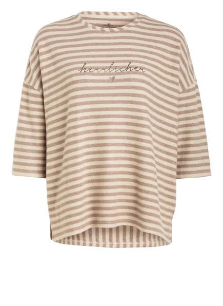 Herrlicher Sweatshirt HEYLIN mit 3/4-Arm , Farbe: BEIGE/ HELLBRAUN GESTREIFT (Bild 1)