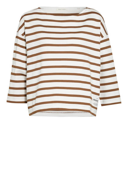 Marc O'Polo Sweatshirt mit 3/4-Arm, Farbe: CREME/ BRAUN GESTREIFT (Bild 1)