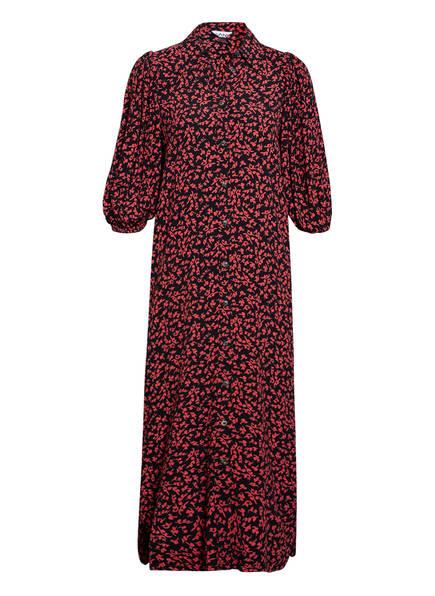 GANNI Hemdblusenkleid mit 3/4-Arm , Farbe: SCHWARZ/ ROT (Bild 1)