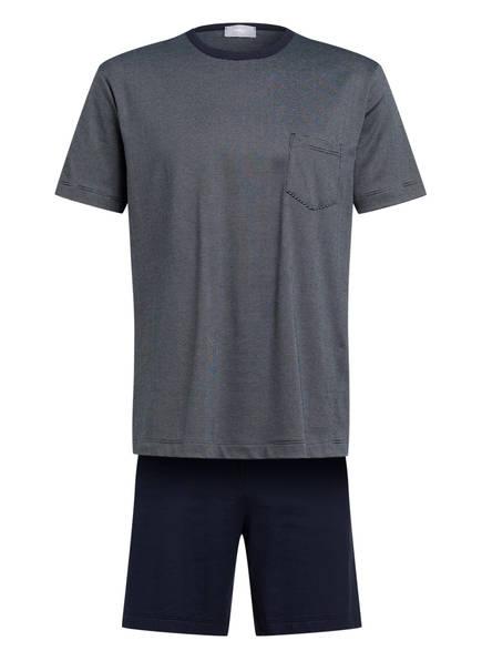 mey Shorty-Schlafanzug Serie STRUKTUR , Farbe: DUNKELBLAU/ WEISS GESTREIFT (Bild 1)