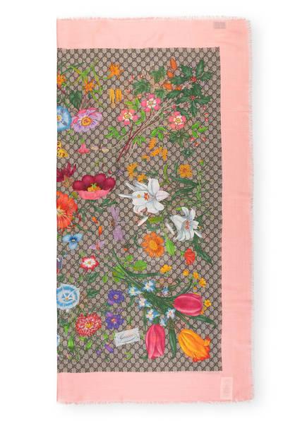 GUCCI Tuch GG FLORA mit Seide , Farbe: ROSA/ BRAUN/ BEIGE (Bild 1)