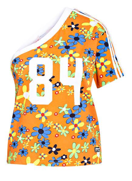 adidas Originals One-Shoulder-Shirt RINGER, Farbe: ORANGE/ WEISS/ BLAU (Bild 1)