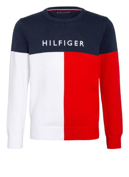 TOMMY HILFIGER Pullover, Farbe: ROT/ DUNKELBLAU/ WEISS (Bild 1)