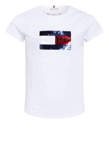 TOMMY HILFIGER T-Shirts mit Paillettenbesatz, Farbe: WEISS (Bild 1)