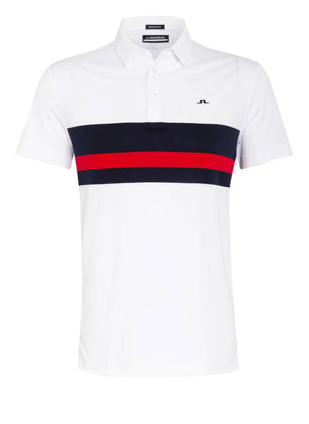J.LINDEBERG Funktions-Poloshirt Regular Fit, Farbe: WEISS/ NAVY/ ROT (Bild 1)