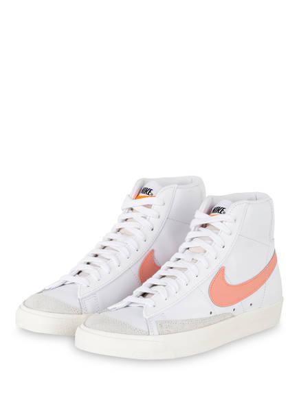 Nike Hightop-Sneaker BLAZER MID '77, Farbe: WEISS/ HELLORANGE (Bild 1)