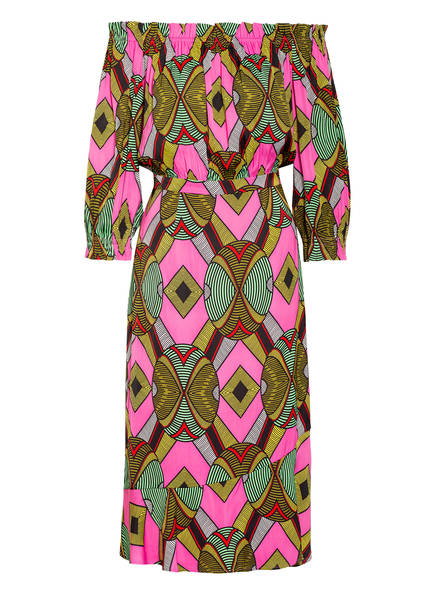 ESSENTIEL ANTWERP Off-Shoulder-Kleid WATATA mit 3/4-Arm , Farbe: SCHWARZ/ PINK/ GRÜN (Bild 1)