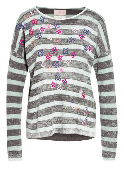 LIEBLINGSSTÜCK Pullover BRIDNEY mit Stickereien , Farbe: DUNKELGRÜN/ HELLGRÜN GESTREIFT (Bild 1)