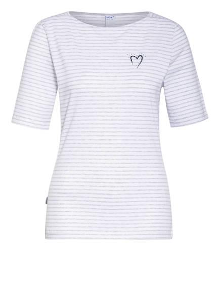 JOY sportswear T-Shirt LIA mit Schmucksteinbesatz, Farbe: HELLGRAU/ WEISS (Bild 1)