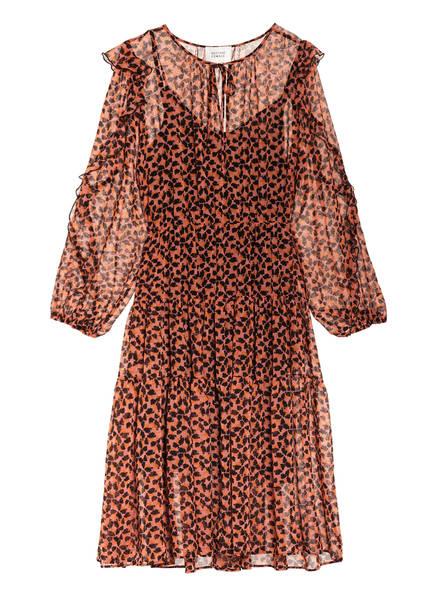 SECOND FEMALE Kleid HILMA mit Volants, Farbe: HELLROT/ SCHWARZ (Bild 1)