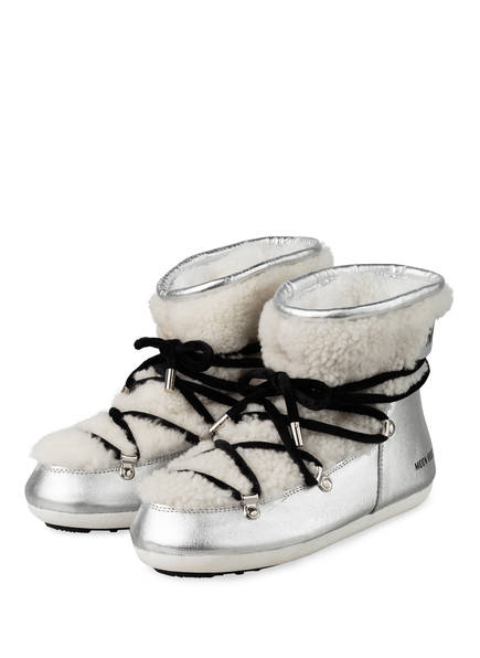 MOON BOOT Moon Boots DARK SIDE mit Echtfellbesatz, Farbe: SILBER/ WEISS (Bild 1)
