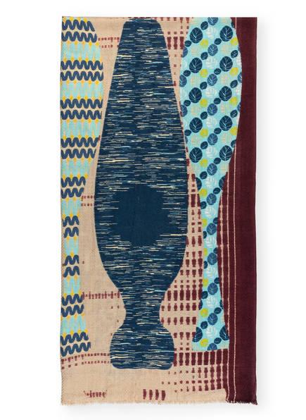 STORI ATIPIC Schal ENVIE , Farbe: PETROL/ DUNKELROT/ BEIGE (Bild 1)