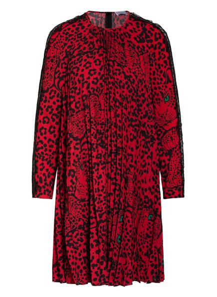 RED VALENTINO Plisseekleid mit Spitzenbesatz , Farbe: ROT/ SCHWARZ (Bild 1)