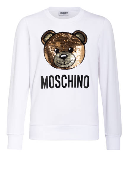 MOSCHINO Sweatshirt mit Paillettenbesatz, Farbe: WEISS (Bild 1)