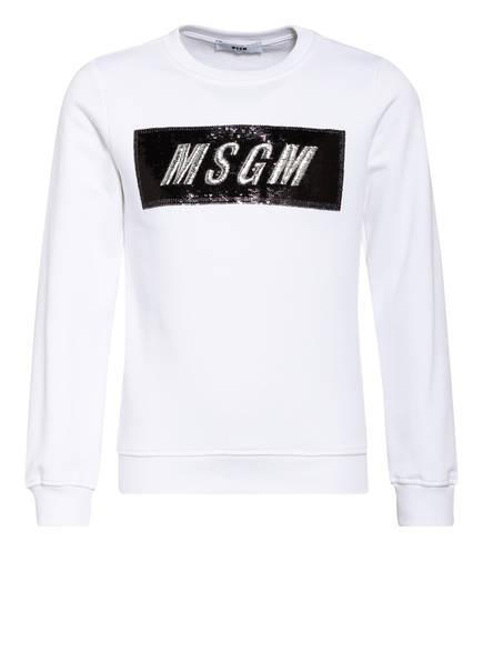 MSGM KIDS Sweatshirt mit Paillettenbesatz , Farbe: WEISS (Bild 1)