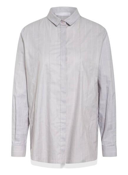 FABIANA FILIPPI Hemdbluse mit Schmucksteinen und Tüll, Farbe: HELLGRAU MELIERT/ WEISS GESTREIFT (Bild 1)