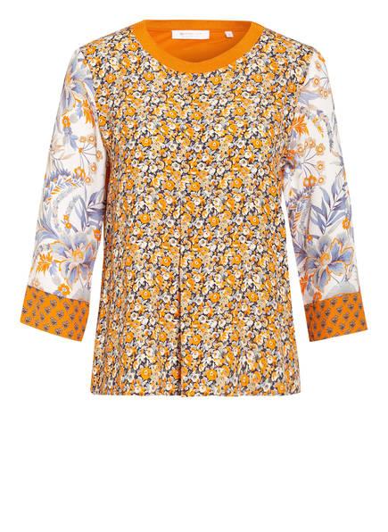 rich&royal Blusenshirt im Materialmix mit 3/4-Arm, Farbe: ORANGE/ DUNKELBLAU/ WEISS (Bild 1)