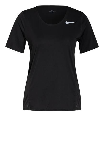 Nike Laufshirt CITY SLEEK mit Mesh-Einsätzen, Farbe: SCHWARZ/ SILBER (Bild 1)
