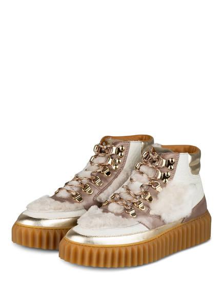 VOILE BLANCHE Hightop-Sneaker EVA mit Kunstpelzbesatz, Farbe: CREME/ GOLD (Bild 1)