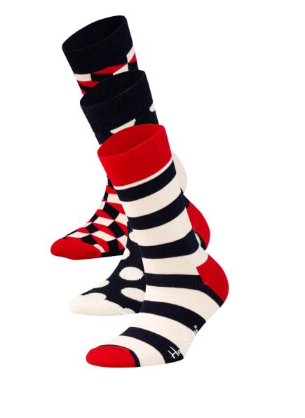 Happy Socks 3er-Pack Socken in Geschenkbox, Farbe: 6000 DUNKELBLAU/ ROT/ WEISS (Bild 1)