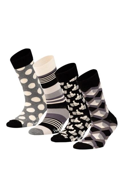 Happy Socks 4er-Pack Socken in Geschenkbox, Farbe: 9004 SCHWARZ/ GRAU/ CREME (Bild 1)