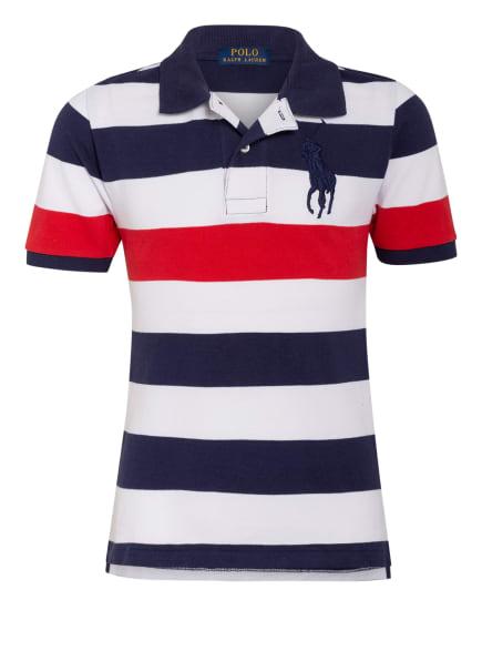 POLO RALPH LAUREN Piqué-Poloshirt, Farbe: DUNKELBLAU/ WEISS/ ROT (Bild 1)