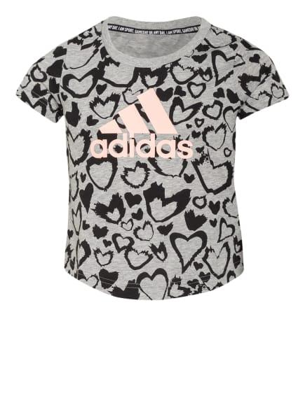 adidas T-Shirt, Farbe: HELLGRAU/ SCHWARZ (Bild 1)