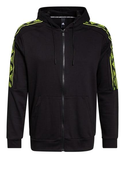 adidas Sweatjacke MUST HAVES GFX, Farbe: SCHWARZ/ NEONGELB (Bild 1)